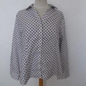 Chico's Purple Black White Non Iron LS Shirt 3 XL